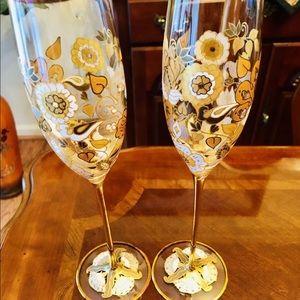 Jay Strongwater Floral-Vine 14k Champagne Flute.